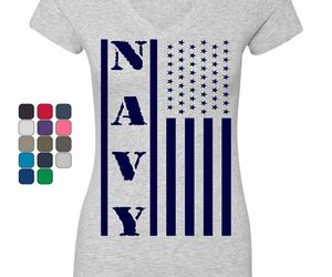 Navy American Flag Women's V-Neck T-Shirt Patriotic Stars and Stripes Military, an item from the 'Flag Focused' hand-picked list