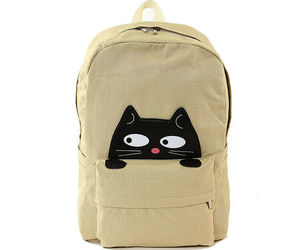 "Peeking Black Cat Khaki Canvas Backpack 12"" x 6""x17"" Lined Zips Closed 5 Pockets, an item from the 'Cute Bats and Black Cats' hand-picked list"