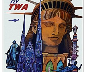 """NEW YORK CITY """"Lady Liberty"""" Airline Travel Print - measures 24"""" wide x 36"""" high, an item from the 'Community Picks: Lady Liberty' hand-picked list"""