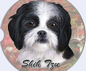 Shih Tzu Car Coaster Absorbent Keep Cup Holder Dry Stoneware New Dog Black White, an item from the 'I Shih-Tzu Not' hand-picked list
