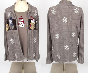 STORYBOOK KNITS Medium gray snowman Ugly Christmas twinset cardigan Sweater\, an item from the 'Ugly Sweater Party' hand-picked list