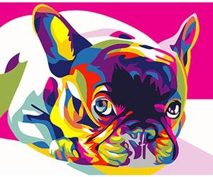 Colorful Dog Framed Pictures DIY Painting By Numbers DIY Oil Painting On Canvas , an item from the 'Add a POP of COLOR to your room' hand-picked list