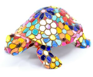Barcino Hand Painted Limited Edition Flower Mosaic Turtle Tortoise Figure 54058, an item from the 'Add a POP of COLOR to your room' hand-picked list