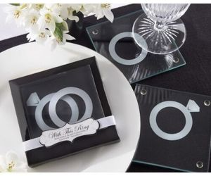 60 With This Ring Glass Coaster sets wedding favors favor, an item from the 'A Reception to Remember' hand-picked list