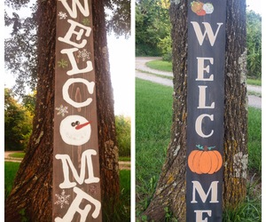 Reversible seasonal welcome sign Fall/Winter Pumpkins and snowman, an item from the 'Fall Must Haves' hand-picked list