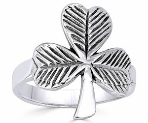 Irish Shamrock 3-Leaf Clover .925 Sterling Silver Irish / Celtic Luck Charm Ring, an item from the 'St. Patrick's Day' hand-picked list