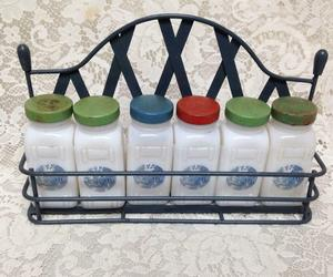 Vintage, 6-pc Blue Willow Milk Glass, Spice Jar Set with Metal Rack, an item from the 'The Spice is Right' hand-picked list