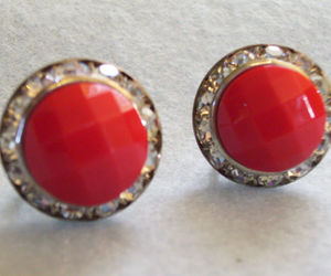 RED Faceted Cab CHANNEL RHINESTONE Frame Earring Silver Plate Screw Back Vintage, an item from the 'Vintage Christmas Bling' hand-picked list