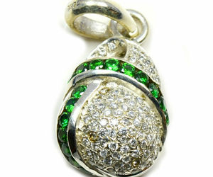 Green Cubic Zircon Pendants Sterling Silver Round Gemstone Handcrafted Jewelry, an item from the 'Unique Handmade & Handcrafted Jewelry' hand-picked list