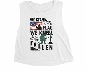 We Stand We Kneel Womens Cute White Crop Tank Top Memorial Day Gift, an item from the 'Memorial Day - A Time to Remember' hand-picked list