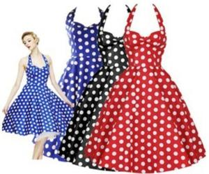 50s Rockabilly Retro Audrey Hepburn Womens Halter Strappy Polka Dot Swing Dress, an item from the 'Connecting the dots' hand-picked list