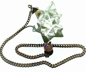 Clear Crystal Quartz Merkaba Star Pendulum Reiki Healing Meditation, an item from the 'Supernatural Woman' hand-picked list