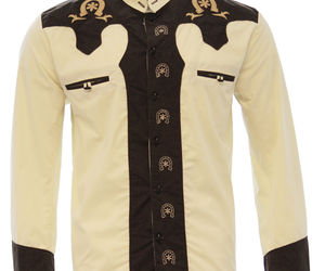 Men's Charro Shirt Camisa Charra El General Western Wear Color Beige/Brown, an item from the 'The Kit and Caboodle ' hand-picked list