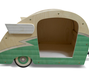Retro Shasta Camper Dog Bed (Seafoam Green), an item from the 'Community Picks: Pets are for Pampering' hand-picked list