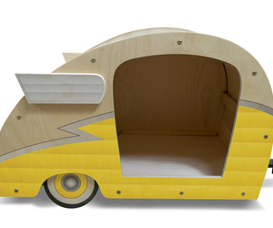 Retro Shasta Camper Dog Bed (Lemon Yellow), an item from the 'Love Dogs?' hand-picked list