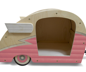 Retro Shasta Camper Dog Bed (Bubble Gum Pink), an item from the 'Community Picks: Pets are for Pampering' hand-picked list