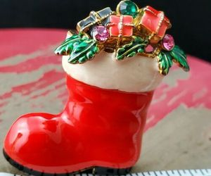 Vintage Eisenberg Christmas Santa Boot Brooch , an item from the 'Santas & Snowmen' hand-picked list