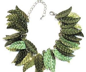 Sequin Leaf Bracelet Olive Green Leaves Silvertone Metal Chain Link Adjustable, an item from the 'Leaf It Be' hand-picked list