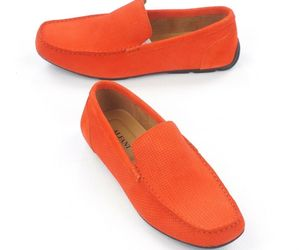 NEW ALFANI ORANGE WOVEN SUEDE DRIVER MOCCASINS KENDRIC LOAFERS SHOES 9, an item from the 'Shoes for Dudes' hand-picked list