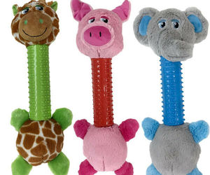 "Dog Toys Silly Long Neck Plush Characters Tossers Giraffe Pig or Elephant 12.5"", an item from the 'Love Dogs?' hand-picked list"
