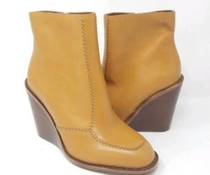 See By Chloe women 38.5/8.5 Charlize wedge light brown tan booties, an item from the 'Cute Booties' hand-picked list