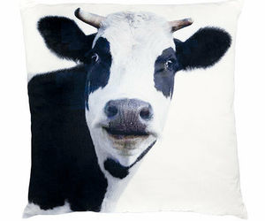 "Cow Cushion Throw Pillow Ashdene Black White Velvet Large Farm Animal 17"" Square, an item from the 'Throw Pillows' hand-picked list"