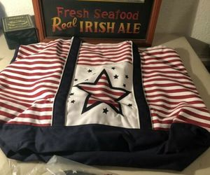 American Flag Star CANVAS TOTE - BEACH BAG W/ XL Sandles Set (set retailed $105), an item from the 'Flag Focused' hand-picked list