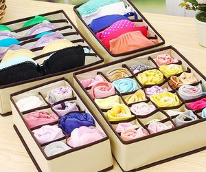 4 Pcs Underwear Storage Box Multi-Grids Nonwoven Fabric Socks Underwear Organize, an item from the 'Let's Put Things in Order' hand-picked list