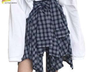 Asymmetrical Plaid Skirt Woman 2018 Spring New Fashion Casual Skirts Womens Loli, an item from the 'Mad for Plaid' hand-picked list