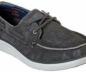 Skechers Wide Fit Black shoes Men's Memory Foam Boat Casual Canvas Comfort 65908, an item from the 'Shoes for Dudes' hand-picked list