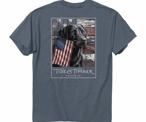 Tide & Timber Red White and True Black Lab Dog Labrador American Flag Shirt 3180, an item from the 'Flag Focused' hand-picked list