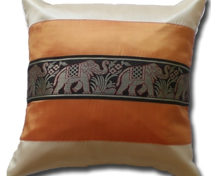 KN034 orange - creme Cushion cover Elephant Animal Throw Pillow Decoration Case, an item from the 'Orange Dreamsicle Dreams' hand-picked list