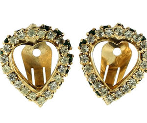 VINTAGE WARNER EMERALD GREEN & CRYSTAL RHINESTONE DOUBLE HEART CLIP EARRINGS, an item from the 'Vintage Earrings are Back' hand-picked list