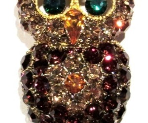Owl Pin Brooch Gold Topaz Crystal Multicolor Perched On A Branch Bird Jewelry, an item from the 'Owl wear that' hand-picked list