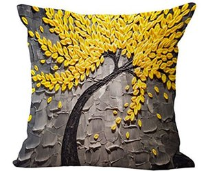 Global Supplies Cotton Linen Square Yellow Leaves Throw Pillow Case Cushion Cove, an item from the 'Throw Pillows' hand-picked list