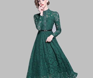 Green Flower Hollow Out Lace A line Dress Women 2019 Spring Stand Collar See Thr, an item from the 'Green is the Color of Spring and St Patty's Day' hand-picked list