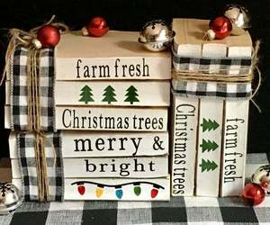 Christmas Decor Book Stack Holiday Style Decoration Set Rustic Farmhouse, an item from the 'Handmade Christmas' hand-picked list