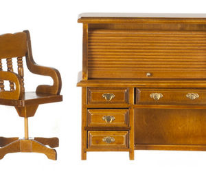 Dollhouse Miniature - WALNUT ROLLTOP DESK AND CHAIR SET - 1:12 scale, an item from the 'Community Picks: Pint Sized Dollhouse Miniatures' hand-picked list
