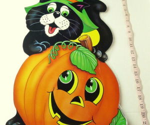 Party Time Vintage Jack O Lantern Pumpkin Black Cat Poster 1985 USA Decoration, an item from the 'Pumpkin Patch' hand-picked list