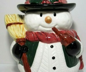 Vintage Snowman Ceramic Cookie Jar RS 24339 10.5'' Tall Winter Holiday 1990s , an item from the 'Santas & Snowmen' hand-picked list