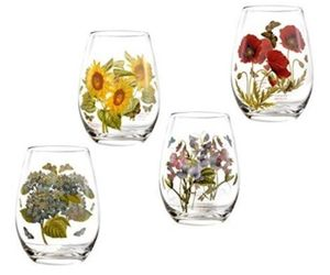 PORTMEIRION Botanic Garden Wine Goblets Stemless SET/4 Glasses Tumblers  floral, an item from the 'Happy Hour at Home' hand-picked list