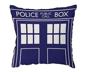 "Doctor Who TARDIS Throw Pillow - Square Cushion - 16"" x 16"", an item from the 'Throw Pillows' hand-picked list"