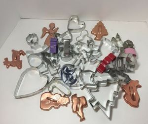 35 Assorted Metal Cookie Cutters Christmas Halloween Easter Hearts Animals, an item from the 'Holiday Cookies & Cooking' hand-picked list