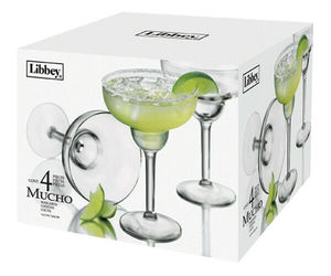 Libbey Mucho Margarita Glasses (Set of 4) NEW IN THE BOX (s) , an item from the 'Happy Hour at Home' hand-picked list