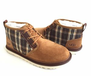 UGG MEN NEUMEL PLAID CHESTNUT SHEARLING SUEDE SHOE US 11 / EU 44 / UK 10, an item from the 'These Boots Were Made for Rocking' hand-picked list