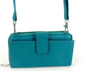 RFID Blocking Faux Leather Clutch Purse, Teal, Adjustable CrossBody Strap #L9312, an item from the 'Cute Clutches' hand-picked list