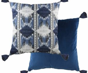 "FILLED EVANS LICHFIELD TRIBAL AZTEC BLUE TASSELLED 17"" - 43CM CUSHION, an item from the 'A Hue of my Favorite Things' hand-picked list"