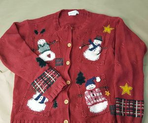 Women's Croft & Barrow Size Medium Ugly Christmas Sweater Snowman Wooden Buttons, an item from the 'Ugly Sweater Party' hand-picked list