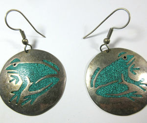 Vintage Alpaca Mexico Silver Frog Crushed Turquoise Chip Inlay Circle Earrings, an item from the 'Vintage Earrings are Back' hand-picked list