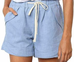 Womens Casual Drawstring Elastic Waist Comfy Cotton Linen Shorts Blue Small NWOT, an item from the 'A Hue of my Favorite Things' hand-picked list
